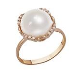 Золотое кольцо красного цвета с жемчугом и фианитами Пруденс