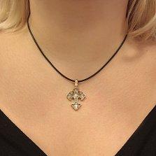 Серебряный крестик с позолотой и чернением Ангельский щит