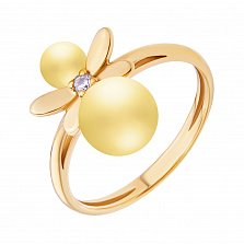 Позолоченное кольцо Крошка-стрекоза с бусинами лимонного янтаря и фианитом