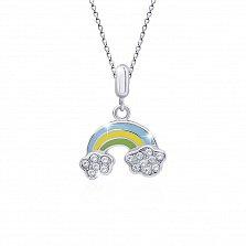 Серебряное колье Радуга с разноцветной эмалью, белыми фианитами и родием