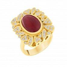 Золотое кольцо Драгоценный цветок с крупным рубином и бриллиантами