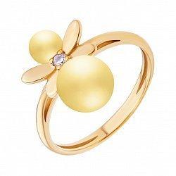 Позолоченное кольцо с бусинами лимонного янтаря и фианитом 000118965