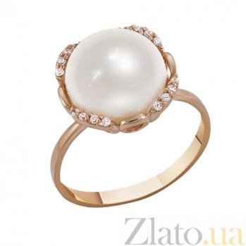 Кольцо в красном золоте Афина с жемчугом и фианитами 000023205