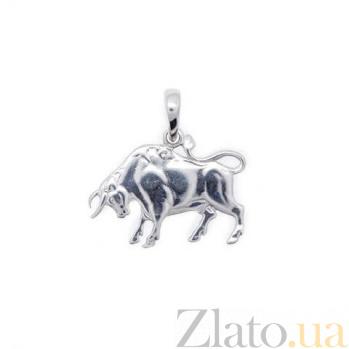 Серебряный кулон знак зодиака Телец AQA--3085-2