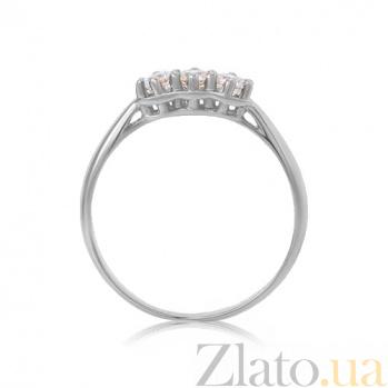 Золотое кольцо Трио в белом цвете с белыми кристаллами Swarovski 000010488