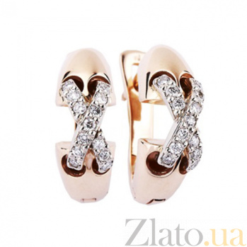 Золотые серьги с бриллиантами Мэг KBL--С2166/крас/брил