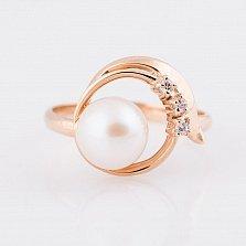 Золотое кольцо Беверли с жемчугом и фианитами
