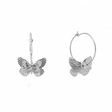 Серебряные серьги Порхание бабочки с родиевым покрытием