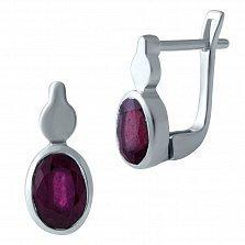 Серебряные серьги Донна с рубином
