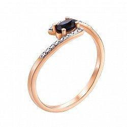 Кольцо в красном золоте Аєлита с сапфиром и бриллиантами