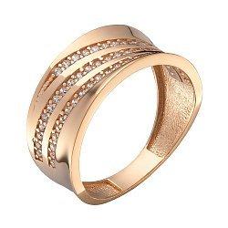 Кольцо в красном золоте с фианитами 000067807