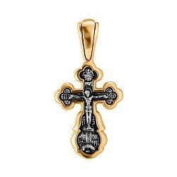 Серебряный крестик в комбинированном цвете 000140564