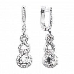 Серьги-подвески из белого золота с бриллиантами 000136635