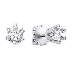Серьги-пуссеты из белого золота с бриллиантами 000132158