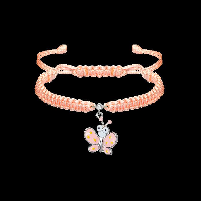 Детский коралловый плетеный браслет Бабочка с эмалью на подвеске и фианитом, 15х15мм 000080585