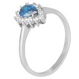 Серебряное кольцо с голубым фианитом Брюссель