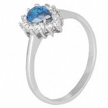 Серебряное кольцо Пенелопа с голубым и белым цирконием