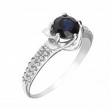 Серебряное кольцо Небесный цветочек с сапфиром и фианитами