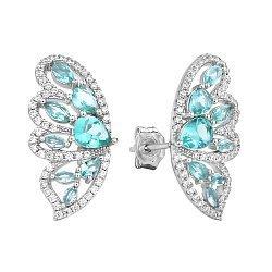 Серебряные серьги-пуссеты Крылья мотылька с голубыми и белыми фианитами