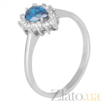 Серебряное кольцо с голубым фианитом Брюссель 000028333