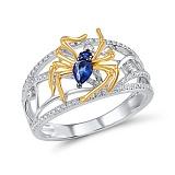 Кольцо из золота с сапфирами и бриллиантами Паучок