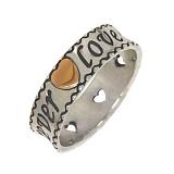Серебряное кольцо с золотой вставкой Forever love heart
