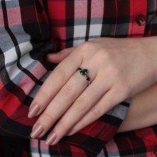 Серебряное кольцо Вечный танец с зеленым кварцем, гранатами и фианитами цвета топазов рорру