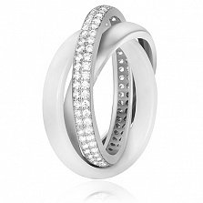 Серебряное кольцо I Love Fashion с керамикой и фианитами