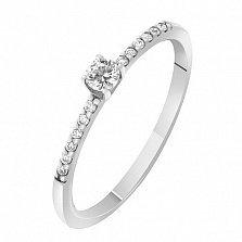 Кольцо в белом золоте Прима с бриллиантами