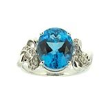 Серебряное кольцо с топазом и бриллиантами Мара