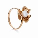 Золотое кольцо с жемчугом и фианитами Бриджит