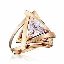 Золотое кольцо Триолетте с белым фианитом