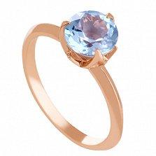 Золотое кольцо с голубым топазом Азиза