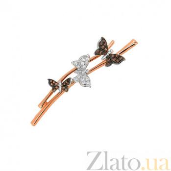 Золотая брошь с фианитами Бабочки VLT--ЕЕ434-1