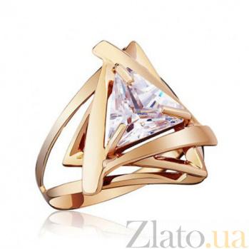 Золотое кольцо Триолетте с белым фианитом EDM--КД069