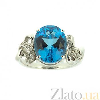 Серебряное кольцо с топазом и бриллиантами Мара 000022154