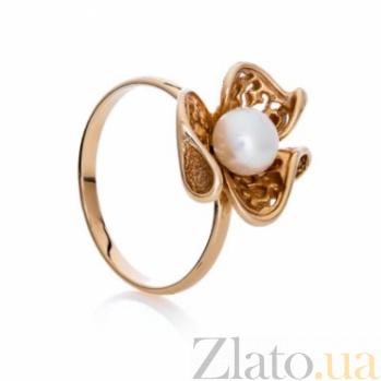 Золотое кольцо с жемчугом и фианитами Бриджит SG--13070010