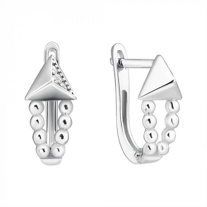 Серебряные серьги  с фианитами 000126583