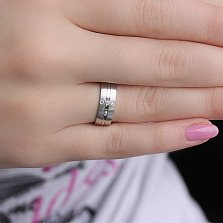 Золотое обручальное кольцо из белого золота с фианитами Аристократичность