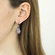 Серебряные серьги-подвески Аделия с сиреневыми улекситами и фианитами
