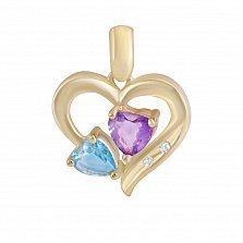 Золотой кулон Магия сердца с аметистом, топазом и бриллиантами