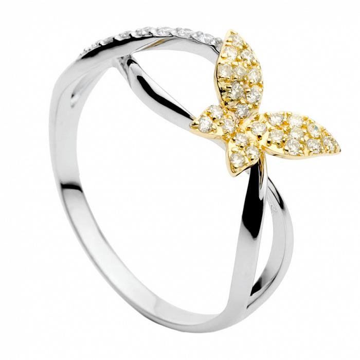 Золотое кольцо с бриллиантами Butterfly 000030502