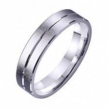 Обручальное кольцо из белого золота Дорога счастья