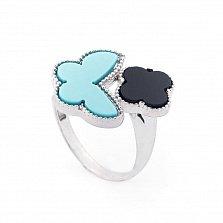 Серебряное кольцо Летний вечер с черным ониксом и синтетической бирюзой