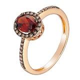Кольцо в красном золоте Дорин с гранатом и бриллиантами