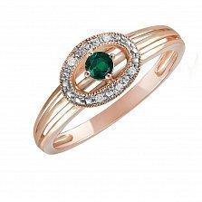 Кольцо Клементина из красного золота с бриллиантами и изумрудом