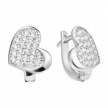 Серебряные серьги-сердца Любимый блеск в усыпке фианитов