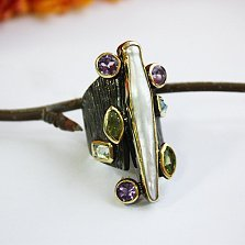 Серебряное кольцо в позолоте с аметистом, хризолитом, топазом и мазерперлом Друиды