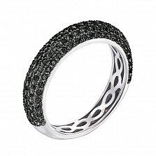 Золотое кольцо Абигэйл в комбинированном цвете с усыпкой из черных бриллиантов