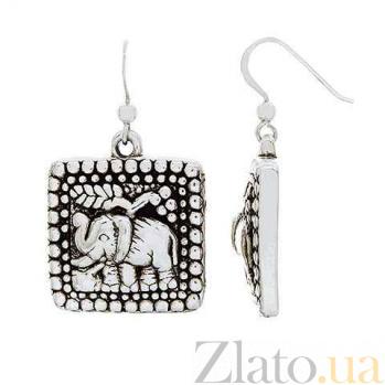 Серебряные серьги Слон AQA--120550044